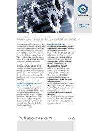 TÜV SÜD Product Service GmbH Maschinensicherheit für Europa ...