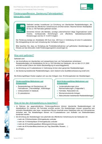 Sanierung Fahrradparken - Kommunalkredit Public Consulting