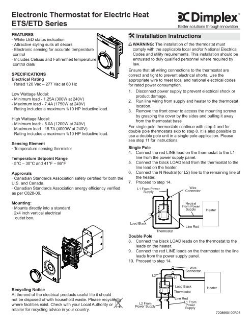 Dimplex Double Pole Thermostat Wiring Diagram