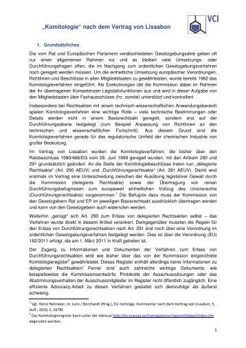 'Komitologie' nach dem Vertrag von Lissabon - Alexandra Thein