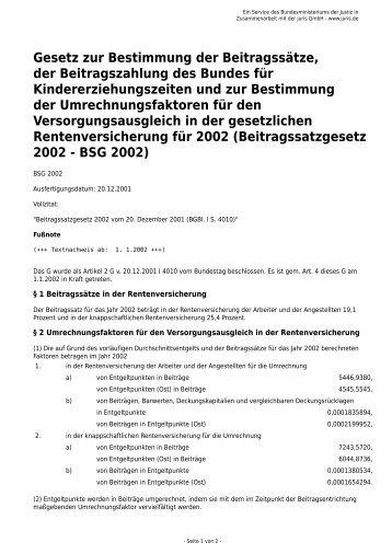 Gesetz zur Bestimmung der Beitragssätze, der Beitragszahlung des ...