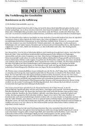 Die Verklärung der Geschichte - Rowohlt Theaterverlag