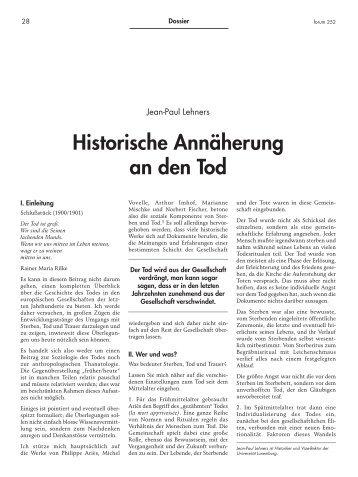Historische Annäherung an den Tod - Forum – für Politik ...