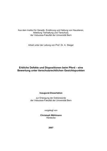 Erbliche Defekte und Dispositionen beim Pferd - Vetsuisse-Fakultät ...