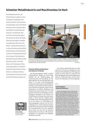 Schweizer Metallindustrie und Maschinenbau im Hoch - Seco