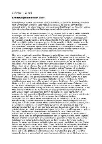 Christian H. Ohser: Erinnerungen an meinen Vater - Vater und Sohn