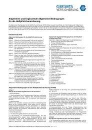 Versicherungsbedingungen - Garanta Österreich Versicherungs-AG