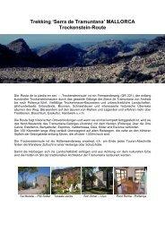 Trekking 'Serra de Tramuntana' MALLORCA Trockenstein-Route