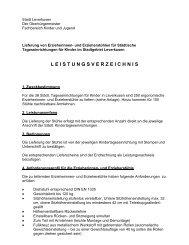 Vergabe VOL Nr. 09/2013 Leistungsverzeichnis ... - Stadt Leverkusen