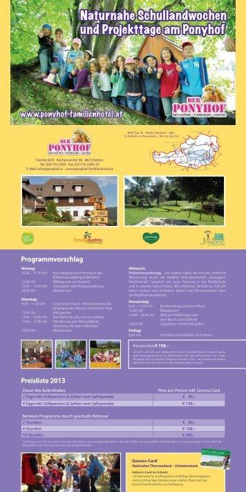 Preise und Angebote für Schulklassen 2013 (pdf ... - Der Ponyhof