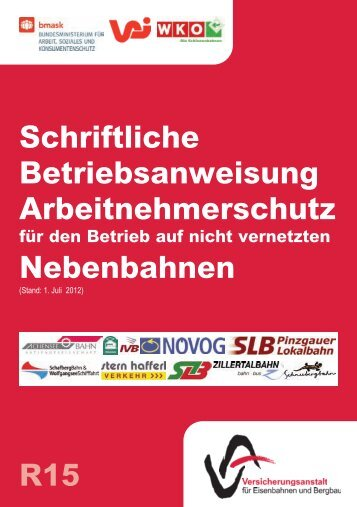 Schriftliche Betriebsanweisung Arbeitnehmerschutz Nebenbahnen ...