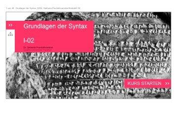1 von 48 Grudlagen der Syntax 02/Dr. Sakharia Pourtskhvanidze ...