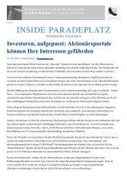 Insideparadeplatz vom 15. Mai 2013 zum elektronischen ... - Swipra