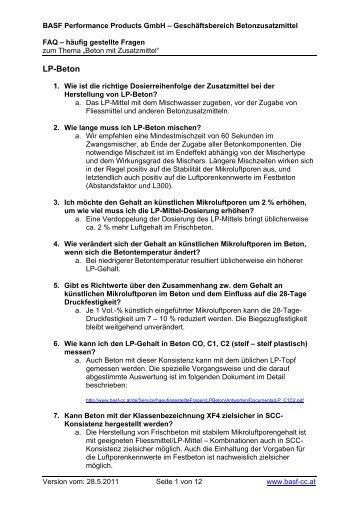 LP-Beton - BASF Performance Products GmbH