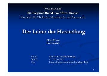 Vortrag zum Der Leiter der Herstellung am 22.02 ... - Oliver Krause