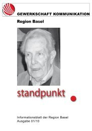 Informationsblatt der Region Basel Ausgabe 01/10 - syndicom ...
