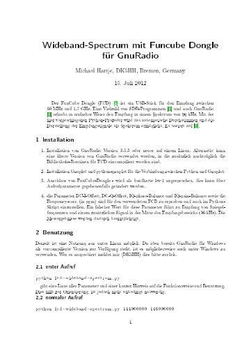 Wideband-Spectrum mit Funcube Dongle für GnuRadio