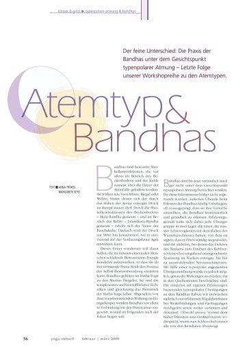 """""""Atemtypen & Bandhas"""" in """"yoga aktuell"""", Ausgabe februar/märz 2009"""