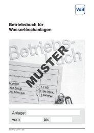 Betriebsbuch für Wasserlöschanlagen ::: MUSTER - VdS