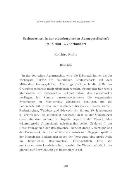 Citation 一橋大学研究年報. 経済学研究, 46: 283-287 Issue Date 2004 ...