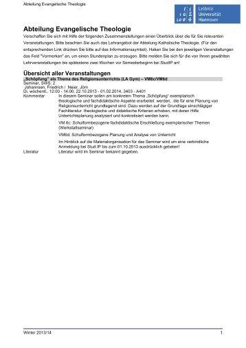 Abteilung Evangelische Theologie - Institut für Theologie und ...