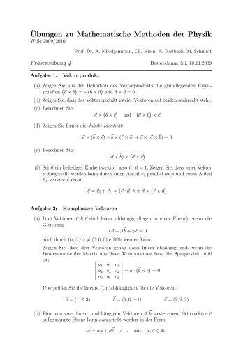 ¨Ubungen zu Mathematische Methoden der Physik - Theoretische ...