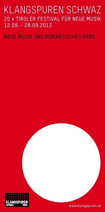 Folder KLANGSPUREN FESTIVAL 2013 (pdf) - Klangspuren Schwaz