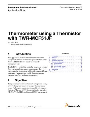 Thermometer using a Thermistor with TWR-MCF51JF - Freescale ...