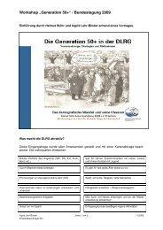 Präsentation der Ergebnisse Workshop 50+ - DLRG
