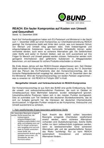 REACH: Ein fauler Kompromiss auf Kosten von Umwelt und ... - BUND