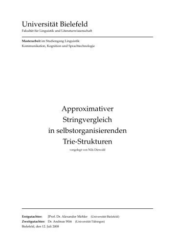 Approximativer Stringvergleich in ... - Nils Diewald