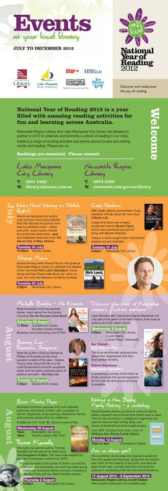 National Year of Reading Events July - Lake Macquarie City Library
