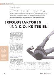 ERFOLGSFAKTOREN UND K.O.-KRITERIEN - Absolit