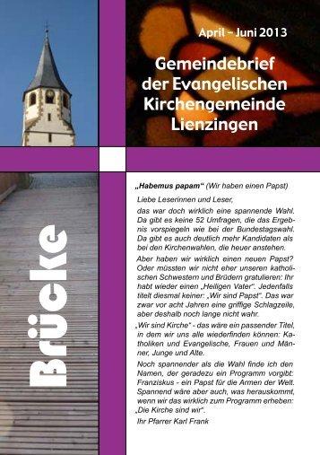 Brücke April - Juni 2013 - Evangelische Kirchengemeinde Lienzingen