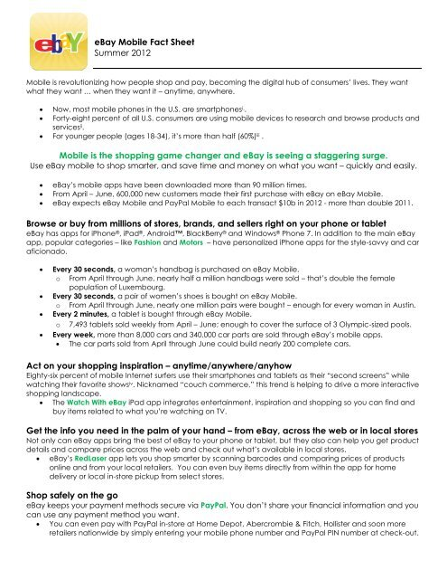 Ebay Mobile Fact Sheet Summer 2012 Mobile Is The Shopping Game