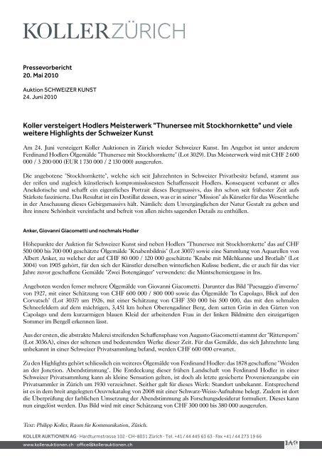 "Koller versteigert Hodlers Meisterwerk ""thunersee ... - Koller Auktionen"