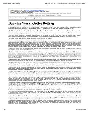 Darwins Werk, Gottes Beitrag