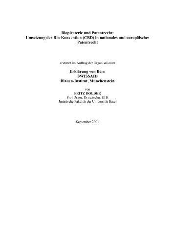 Biopiraterie und Patentrecht - Erklärung von Bern