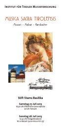 Musica sacra Tirolensis - Musikland Tirol