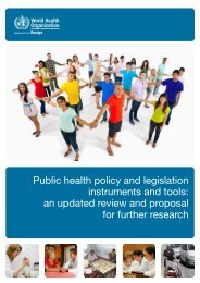 Public health policy and legislation instruments and tools