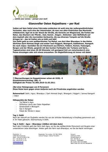 Glanzvoller Osten Rajasthans – per Rad - Destinasia GmbH