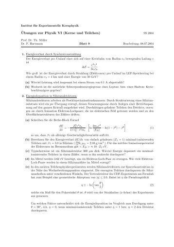 Blatt 9 - Institut für Experimentelle Kernphysik