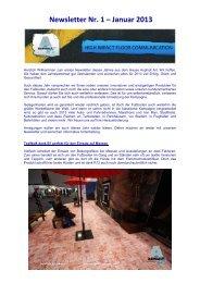 Newsletter Nr. 1 – Januar 2013 - Asphalt Art International AG