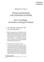 Toleranz und Intoleranz in der christlichen Geschichte Teil I ...