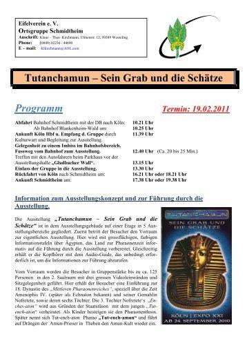 Tutanchamun – Sein Grab und die Schätze Programm - Eifelverein