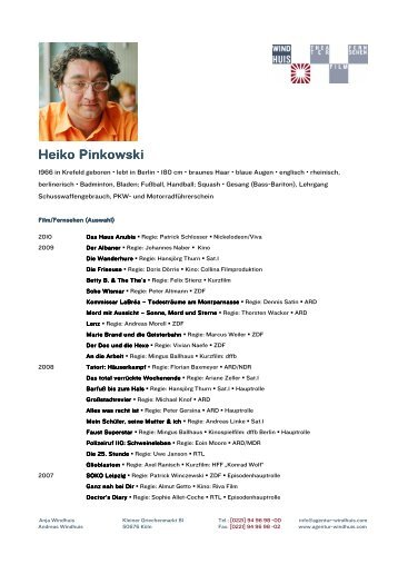 Heiko Pinkowski Heiko Pinkowski - Agentur Windhuis