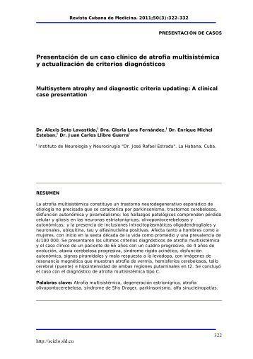 Presentación de un caso clínico de atrofia multisistémica y ... - SciELO