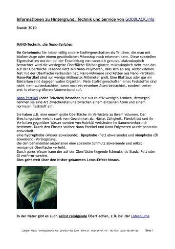 Informationen zu Hintergrund, Technik und Service ... - goodlack.info