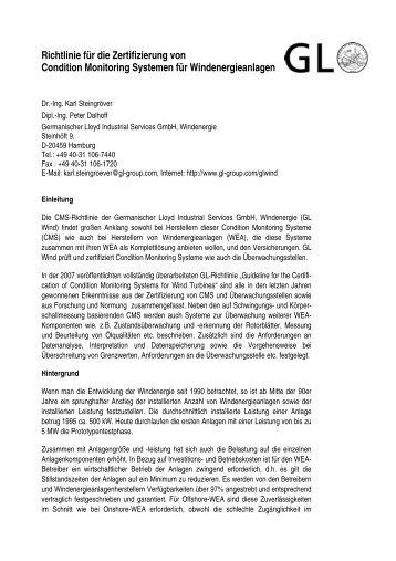 Richtlinie für die Zertifizierung von Condition Monitoring ... - GL ...