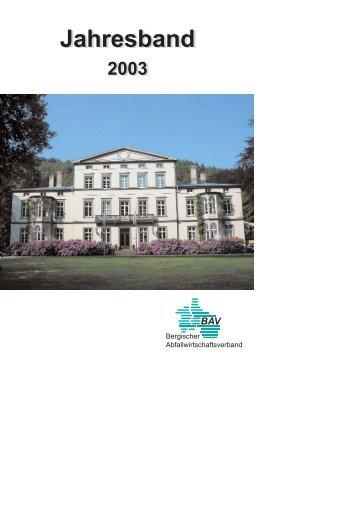 Jahresband 2003 - Bergischer Abfallwirtschaftsverband